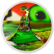 Round Beach Towel featuring the photograph Water Mountain by Peter Lakomy