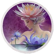 Water Of Life - In Violet Round Beach Towel