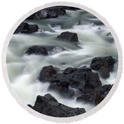 Water Over Rocks Round Beach Towel