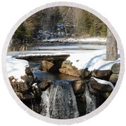 Water Over The Dam Round Beach Towel by Mim White