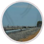 Water Pipeline Round Beach Towel