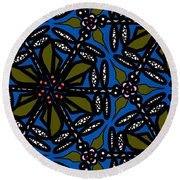 Round Beach Towel featuring the digital art Water Plant And Dragonfly by Elizabeth McTaggart