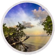 Water Sky Round Beach Towel