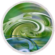 Water Sports - Abstract Art Round Beach Towel by rd Erickson