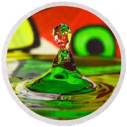 Round Beach Towel featuring the photograph Water Stick by Peter Lakomy