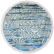 Water Stripes Abstract Round Beach Towel