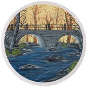 Round Beach Towel featuring the painting Water Under The Bridge by Brenda Brown
