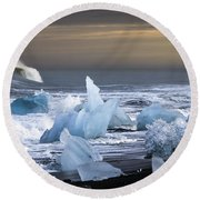 Round Beach Towel featuring the photograph Water Versus Ice by Gunnar Orn Arnason