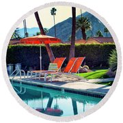 Water Waiting Palm Springs Round Beach Towel