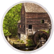 Round Beach Towel featuring the photograph Water Wheel At Philipsburg Manor Mill House by Jerry Cowart