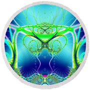 Water World Fractal Round Beach Towel