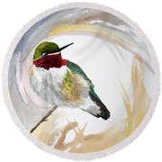 Watercolor - Broad-tailed Hummingbird Round Beach Towel