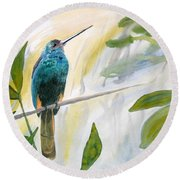 Watercolor - Jacamar In The Rainforest Round Beach Towel