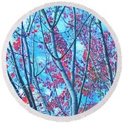 Round Beach Towel featuring the photograph Watercolor Autumn Trees by Tikvah's Hope