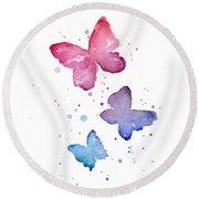 Watercolor Butterflies Round Beach Towel by Olga Shvartsur