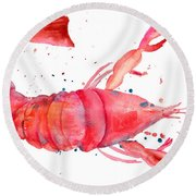 Watercolor Illustration Of Lobster Round Beach Towel