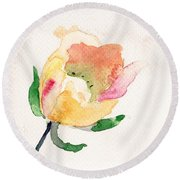 Watercolor Illustration With Beautiful Flower  Round Beach Towel