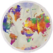 Watercolor Impression World Map Round Beach Towel