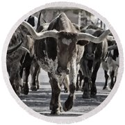 Watercolor Longhorns Round Beach Towel by Joan Carroll