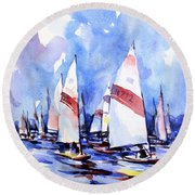 Watercolor Of Scow Boats Racing Torch Lake Mi Round Beach Towel