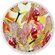 Round Beach Towel featuring the photograph Watercolor Orchid Shadows by Judy Palkimas