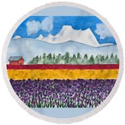 Watercolor Painting Landscape Of Skagit Valley Tulip Fields Art Round Beach Towel