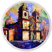 Watercolor Painting Of Church On The Plaza De Armas Cusco Peru Round Beach Towel