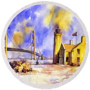 Watercolor Painting Of Ligthouse On Mackinaw Island- Michigan Round Beach Towel