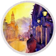 Watercolor Painting Of Street And Church Morelia Mexico Round Beach Towel
