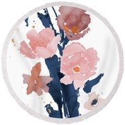 Watercolor Pink Poppies II Round Beach Towel