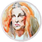 Round Beach Towel featuring the painting Watercolor Portrait Of A Mad Redhead by Greta Corens