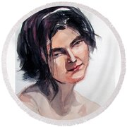 Watercolor Portrait Of A Young Pensive Woman With Headband Round Beach Towel