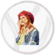 Watercolor Portrait Of An Old Lady Round Beach Towel