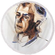 Watercolor Portrait Sketch Of A Man In Monochrome Round Beach Towel
