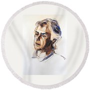 Round Beach Towel featuring the painting Watercolor Portrait Sketch Of A Man In Monochrome by Greta Corens