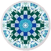 Watercolor Quilt Round Beach Towel by Barbara Griffin