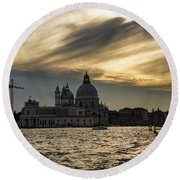 Round Beach Towel featuring the photograph Watercolor Sky Over Venice Italy by Georgia Mizuleva