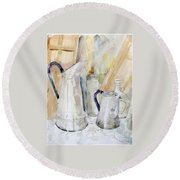 Watercolor Still Life Of White Cans Round Beach Towel