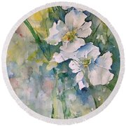 Watercolor Wild Flowers Round Beach Towel