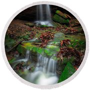 Frankfort Mineral Springs Waterfall  Round Beach Towel