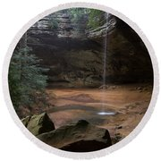 Waterfall At Ash Cave Round Beach Towel
