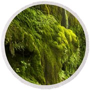 Round Beach Towel featuring the photograph Waterfall In Green by Bryan Keil
