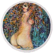 Waterfall Nude Round Beach Towel by Natalie Holland