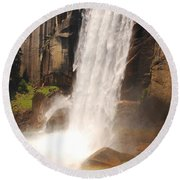 Round Beach Towel featuring the photograph Waterfall Rainbow by Mary Carol Story
