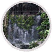 Round Beach Towel featuring the painting Waterfall by Sergey Lukashin