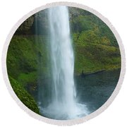 Waterfall View Round Beach Towel