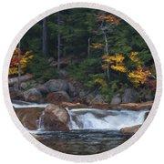 Waterfall - White Mountains - New Hampshire Round Beach Towel