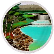 Waterfalls Round Beach Towel by Cyril Maza