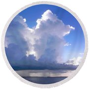Waterfalls Over Florida Bay Filtered Round Beach Towel