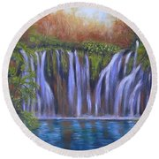 Round Beach Towel featuring the painting Waterfalls - Plitvice Lakes by Vesna Martinjak